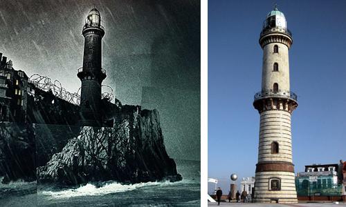 Vergleich: Filmplakat Shutter Island und Leuchtturm Warnemünde (2002)