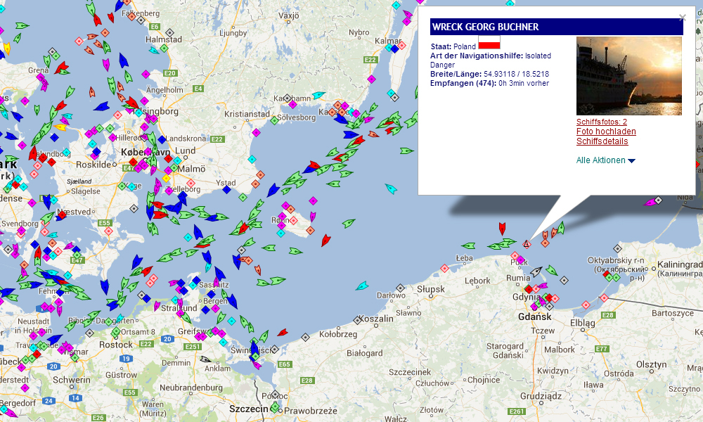 Schiffsposition der Georg Büchner. Quelle: marinetraffic.com