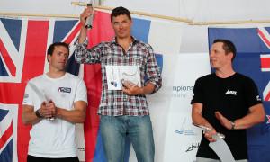 Slowene Vasilij Zbogar gewinnt Finn Dinghy Europameisterschaft 2013 in Warnemünde. Foto: Robert Deaves