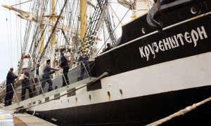 Segelschulschiff Krusenstern zu Gast in Warnemünde. Foto: Martin Schuster