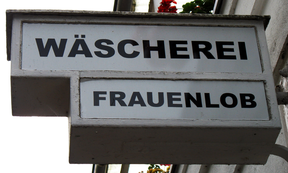 Firmenschild Wäscherei Frauenlob Warnemünde, 2008