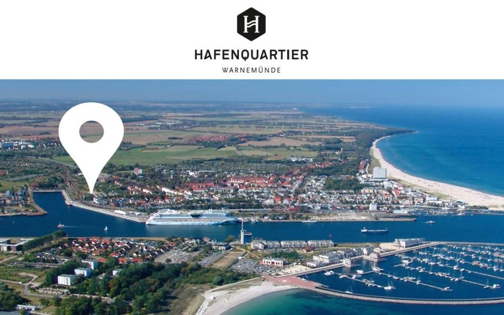 Luftbild vom Hafenquartier Warnemünde. Foto: Wohnpark am Molenfeuer GmbH