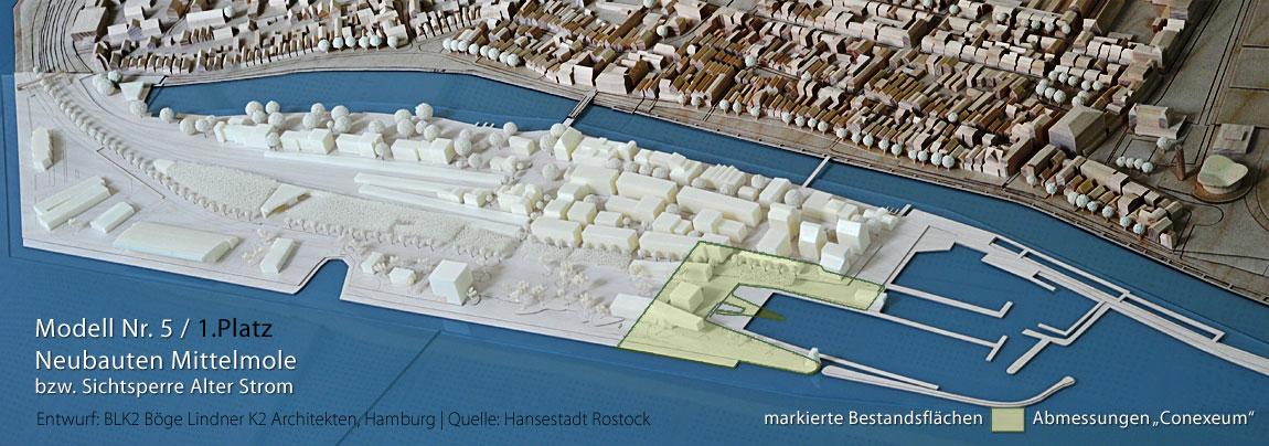 Bahnhofshalbinsel Warnemünde Architekturmodell Nr. 5, Stand 2012