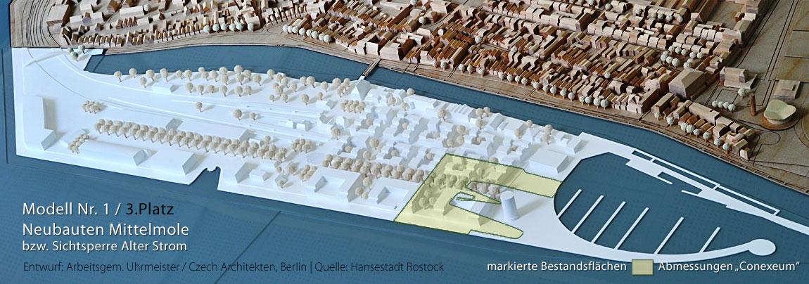 Bahnhofshalbinsel Warnemünde Architekturmodell Nr. 1, Stand 2012