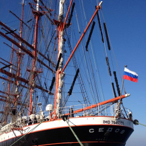 Sedov in Warnemünde. Foto: Heiko Friebel