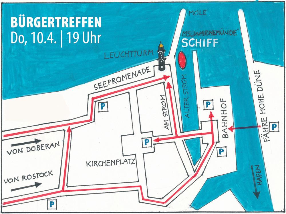 Der Weg zum Bürgertreffen Warnemünde am 10. April 2014