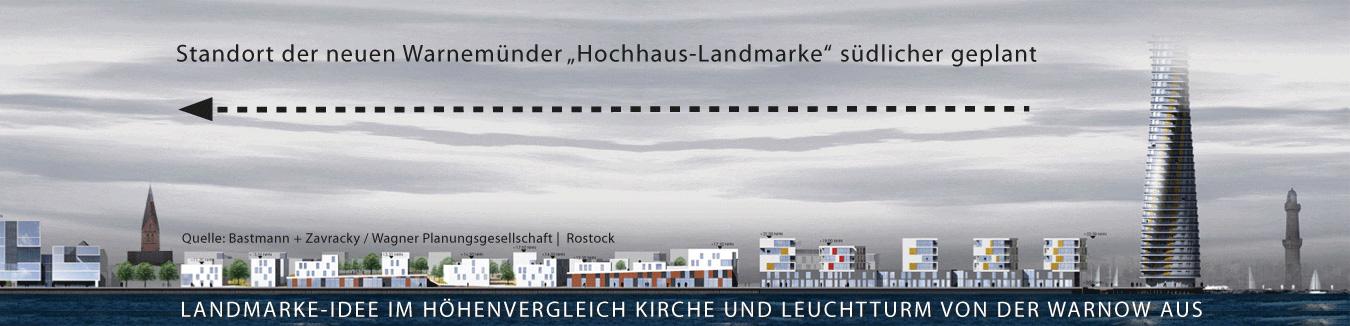 Landmarke für Warnemünde im Höhenvergleich zur Kirche und Leuchtturm