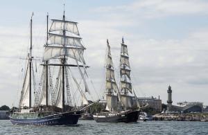 Der Rostocker Dreimaster Santa Barbara Anna im Hafen von Warnemünde. Foto: Archiv Hanse Sail Rostock
