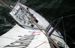 Hochseeregatta Rund Bornholm mit Blick aus dem Masttopp in 27 Meter Höhe. Foto: Rostock Sailing