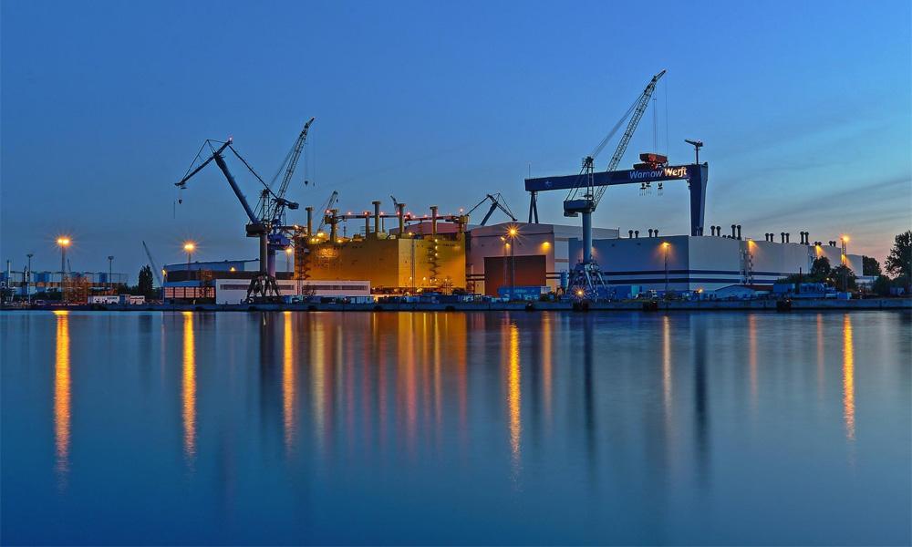 Offshore-Plattform SylWin alpha in der Nordic Yards-Werft in Warnemünde. Foto: Jens Schröder