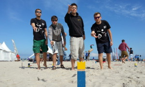 Das Siegerteam Kubb'Ings aus Rostock: Robby Engelmann, Andreas Pieper, Robert Harnack, David Jüttke. Foto: Martin Schuster