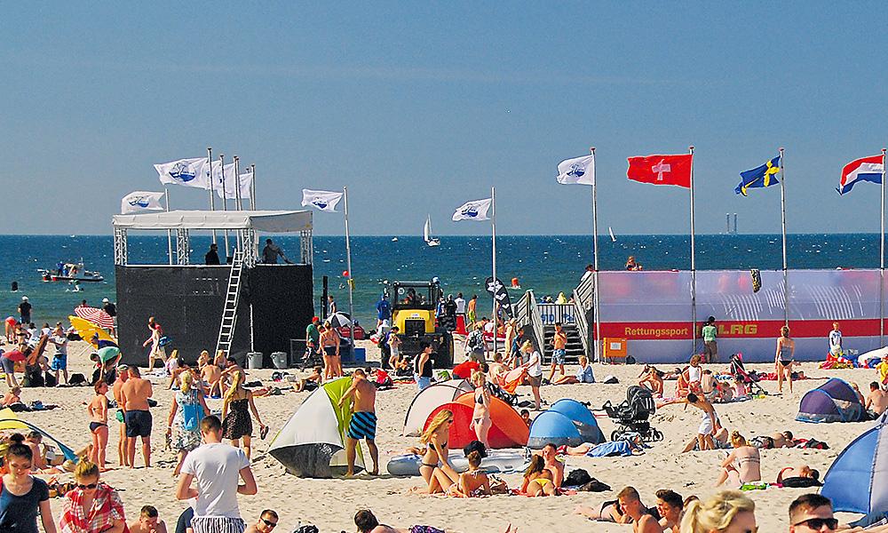 DLRG Cup: Optimale Bedingungen am Strand von Warnemünde. Foto: DLRG