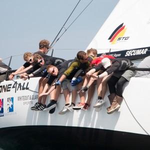 Bei den Up and Down Regatten der Yachten siegte die von Nachwuchstalenten gesegelte IMMAC ONE4ALL. Foto: Pepe Hartmann