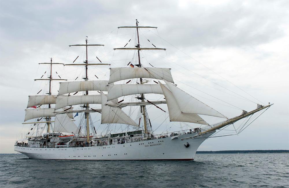 Dar Mlodziezy bei der 24. Hanse Sail 2014 vor Warnemünde. Foto: Lutz Zimmermann / Hanse Sail Rostock