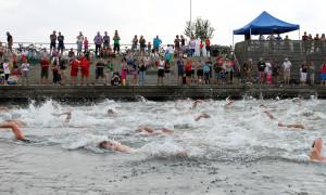 Das Rekordteilnehmerfeld beim 13. Rostocker Warnowschwimmen in Aktion. Foto: Veranstalter