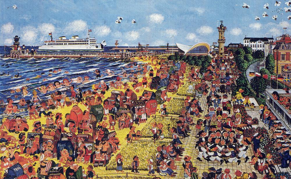 """""""Am Nabel der Republik in Warnemünde"""", eine Illustration von Hansi-Parzcyk aus dem Jahre 1984"""