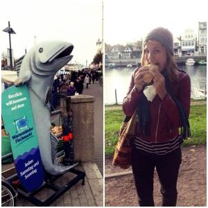 Johanna mit Fischbrötchen