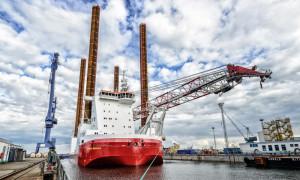 Das in Warnemünde gebaute Offshore-Serviceschiff WIND SERVER. Foto: Nordic Yards