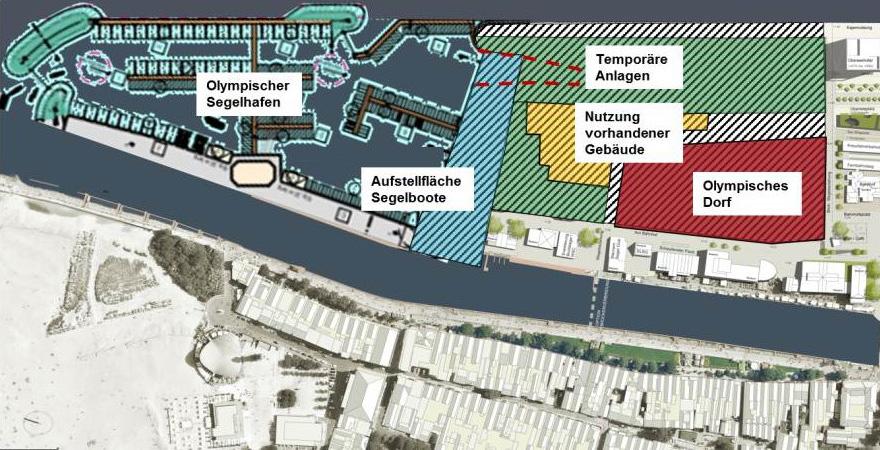 Lage des geplanten Olympia-Sportbereiches und des Olympischen Dorfes in Warnemünde