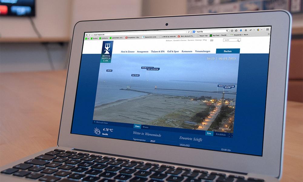 Neue Warnemünde-Webcam mit Schiffen und Wetter in Echtzeit. Foto: Hotel Neptun