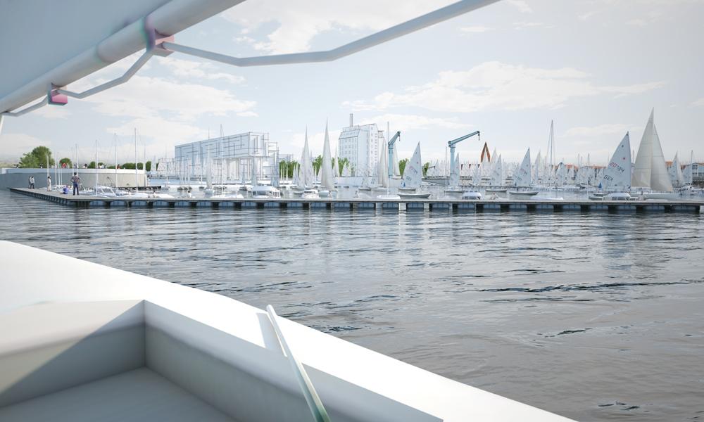 Olympiahafen Warnemünde aus Richtung Norden auf Basis einer Visualisierung. Foto: alpha3/RGS