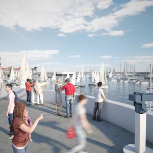 Olympiahafen Warnemünde mit Terasse auf Basis einer Visualisierung. Foto: alpha3/RGS