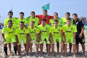 Ibbenbürener BSC vor dem Finale der Deutschen Beachsoccer-Meisterschaft in Warnemünde. Foto: Joachim Kloock