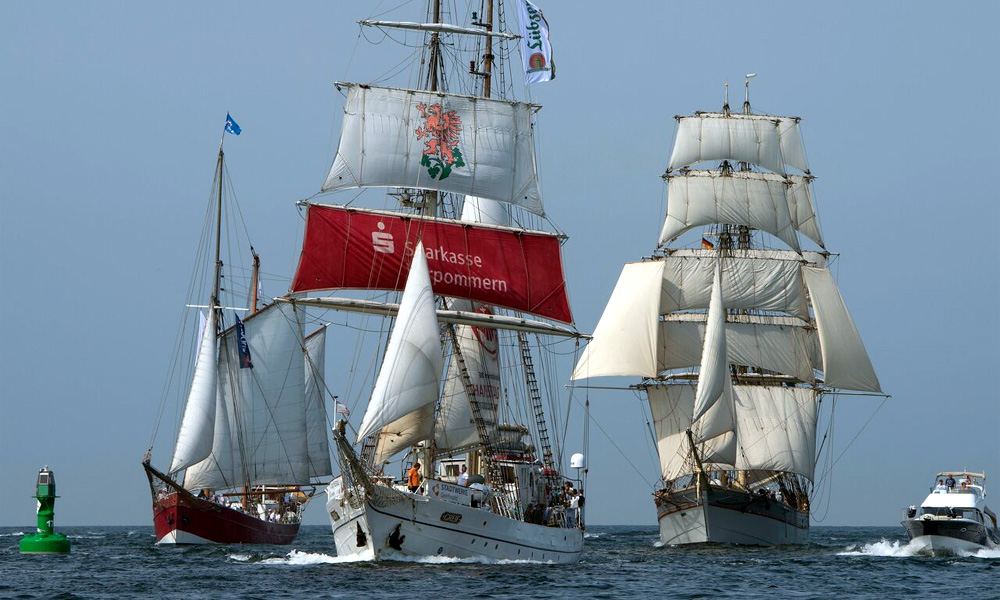 Traditionssegler auf der 25. Hanse Sail in Warnemünde. Foto: Hanse Sail Rostock