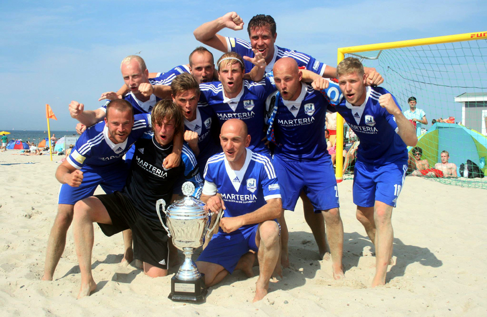 Rostocker Robben gewinnen German Beach Soccer League in Warnemünde. Foto: Daniel Heidmann
