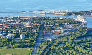Luftaufnahme von Warnemünde. Foto: Manfred Sander