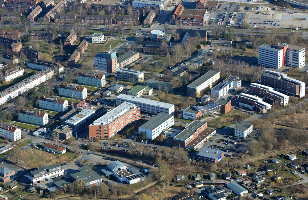 Luftaufnahme des Technologieparks Warnemünde, 2014. Foto: Manfred Sander