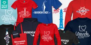 Warnemünde-Shop mit T-Shirts, Pullovern und Souvenirs.