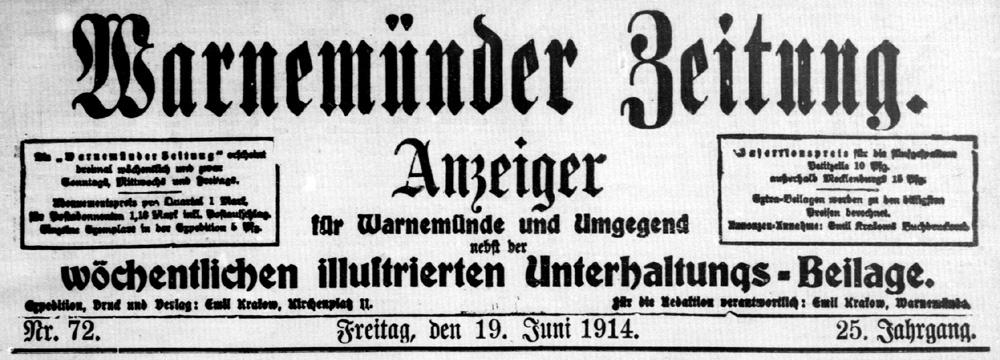 Warnemünder Zeitung 19. Juni 1914